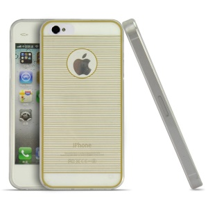 Gold 0.3mm Ultrathin Horizontal Lines TPU Shield Case for iPhone 4s 4