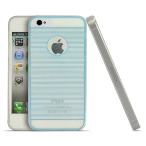 Blue Horizontal Lines 0.3mm Ultrathin Soft TPU Cover for iPhone 4s 4