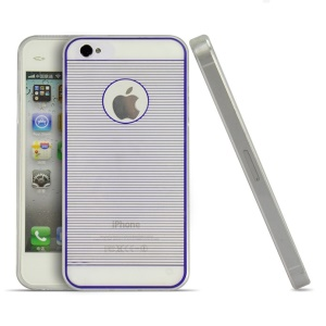 Purple Horizontal Lines 0.3mm Ultrathin Soft TPU Shell for iPhone 4s 4