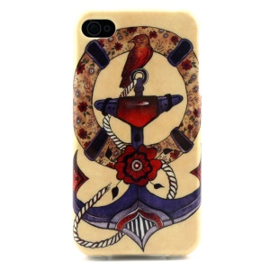 Flowered Anchor & Bird Soft TPU Skin Case for iPhone 4 4s