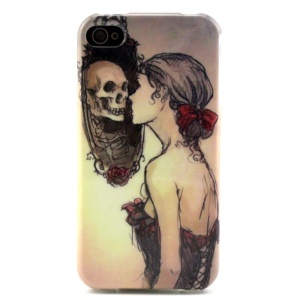 Girl Looking at the Skull Mirror Soft TPU Cover for iPhone 4 4s