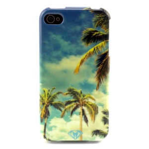 Blue Sky & Coconut Tree TPU Shell Case for iPhone 4 4s