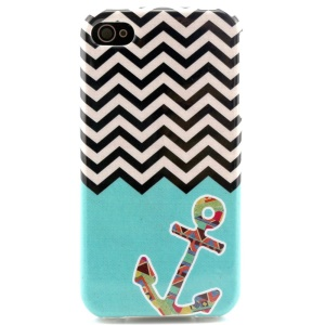 Anchor & Chevron Stripes Durable TPU Gel Case for iPhone 4 4s