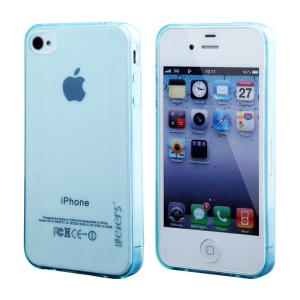 Leiers Thin Ice Series Flex TPU Shell for iPhone 4s 4 - Transparent Blue
