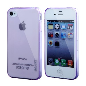 Leiers Thin Ice Series TPU Gel Case for iPhone 4s 4 - Transparent Purple