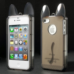 Rabbit Shaped Soft TPU Back Case for iPhone 4 4s - Grey