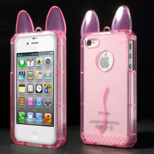 Rabbit Shaped Soft TPU Back Cover Shell for iPhone 4 4s - Pink