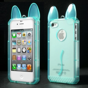 Rabbit Shaped Soft TPU Back Shell for iPhone 4 4s - Blue