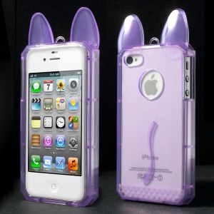 Rabbit Shaped Soft TPU Back Shell for iPhone 4 4s - Purple