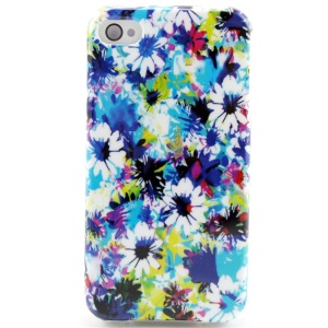 Colorized Flowers TPU Shell Case for iPhone 4 4s