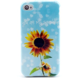 Sunflower & Hearts TPU Gel Cover for iPhone 4 4s