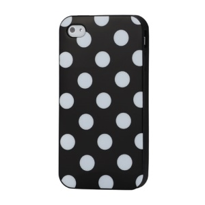 Fashion Polka Dots Glossy TPU Gel Skin Case for iPhone 4 4S - White Dots / Black