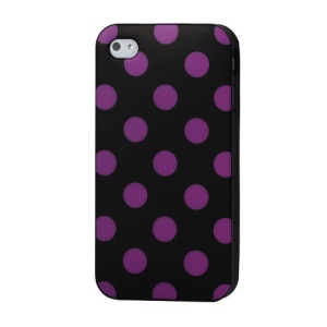 Fashion Polka Dots Glossy TPU Gel Skin Case for iPhone 4 4S - Purple Dots / Black