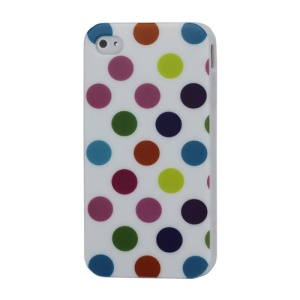Fashion Polka Dots Glossy TPU Gel Skin Case for iPhone 4 4S - Colorized Dots / White