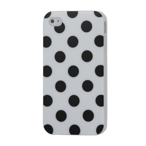 Fashion Polka Dots Glossy TPU Gel Skin Case for iPhone 4 4S - Black Dots / White