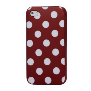 Fashion Polka Dots Glossy TPU Gel Skin Case for iPhone 4 4S - White Dots / Red