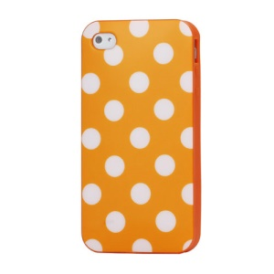 Fashion Polka Dots Glossy TPU Gel Skin Case for iPhone 4 4S - White Dots / Orange
