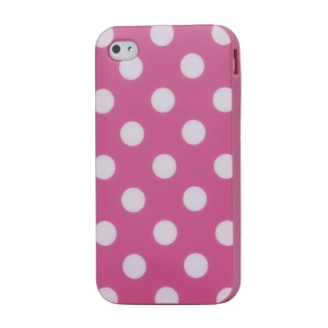 Fashion Polka Dots Glossy TPU Gel Skin Case for iPhone 4 4S - White Dots / Pink