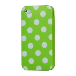 Fashion Polka Dots Glossy TPU Gel Skin Case for iPhone 4 4S - White Dots / Green