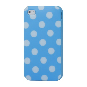 Fashion Polka Dots Glossy TPU Gel Skin Case for iPhone 4 4S - White Dots / Blue