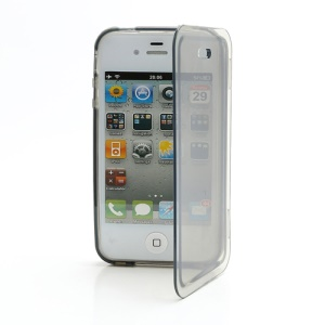 Smooth Flip Folio TPU Gel Case Cover for iPhone 4 4S - Transparent Grey