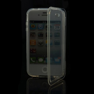 Smooth Flip Folio TPU Gel Case Cover for iPhone 4 4S - Transparent
