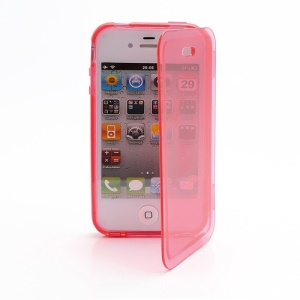 Smooth Flip Folio TPU Gel Case Cover for iPhone 4 4S - Transparent Red