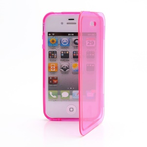 Smooth Flip Folio TPU Gel Case Cover for iPhone 4 4S - Transparent Rose