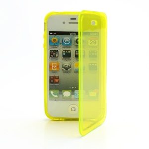 Smooth Flip Folio TPU Gel Case Cover for iPhone 4 4S - Transparent Yellow