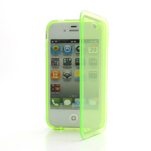 Smooth Flip Folio TPU Gel Case Cover for iPhone 4 4S - Transparent Yellowgreen