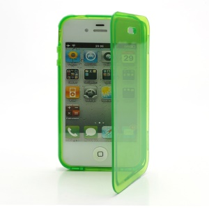 Smooth Flip Folio TPU Gel Case Cover for iPhone 4 4S - Transparent Green