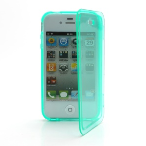 Smooth Flip Folio TPU Gel Case Cover for iPhone 4 4S - Transparent Cyan