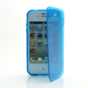 Smooth Flip Folio TPU Gel Case Cover for iPhone 4 4S - Transparent Blue