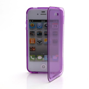 Smooth Flip Folio TPU Gel Case Cover for iPhone 4 4S - Transparent Purple