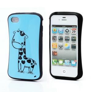 iFace Giraffe Pattern TPU Jelly Case Cover for iPhone 4 4S