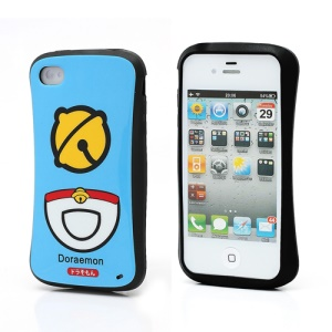 iFace iPhone 4 4S TPU Jelly Case Doraemon Bell Pattern - Blue