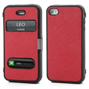 Cross Grain Flexible Flip Folio Folding Cover TPU Gel Case for iPhone 4 4S - Red