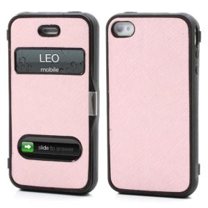 Cross Grain Flexible Flip Folio Folding Cover TPU Gel Case for iPhone 4 4S - Pink