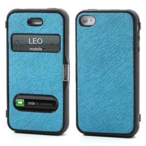 Cross Grain Flexible Flip Folio Folding Cover TPU Gel Case for iPhone 4 4S - Blue