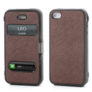 Cross Grain Flexible Flip Folio Folding Cover TPU Gel Case for iPhone 4 4S - Coffee