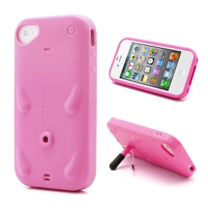 Unique Rilakkuma Urethane TPU Stand Case for iPhone 4 4S w/ Stylus Pen - Rose