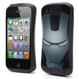 Super Hero Iron Man Pattern TPU Gel Case Cover for iPhone 4 4S - Grey