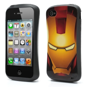 Super Hero Iron Man Pattern TPU Gel Case Cover for iPhone 4 4S - Yellow