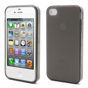 Dustroof Plug Matte TPU Jelly Cases for iPhone 4 4S - Grey