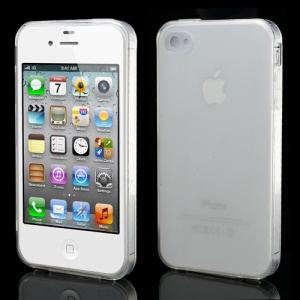 Dustroof Plug Matte TPU Jelly Case for iPhone 4 4S - Transparent