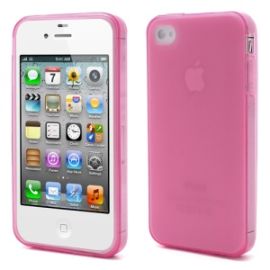 Dustroof Plug Matte TPU Jelly Cover for iPhone 4 4S - Rose