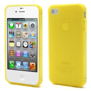 Dustroof Plug Matte TPU Gel Cover for iPhone 4 4S - Yellow