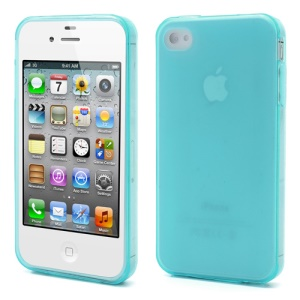Dustroof Plug For iPhone 4 4S Matte TPU Gel Case - Blue