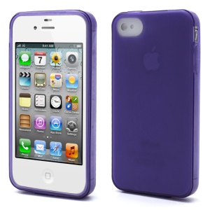 Dustroof Plug For iPhone 4 4S Matte Frosted TPU Gel Case - Purple