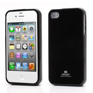 Mercury Shimmering Powder TPU Gel Case Cover for iPhone 4 4S - Black